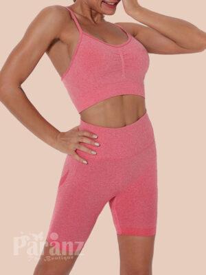 Pleated Sports Bra High Waist Shorts Snug Fit