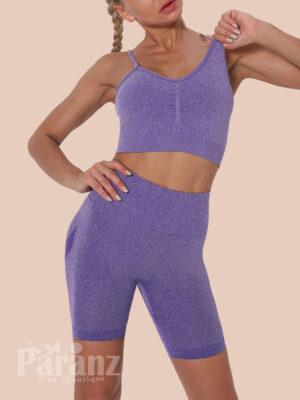 Purple Sling Cropped Bra Thigh Length Leggings For Running Girl