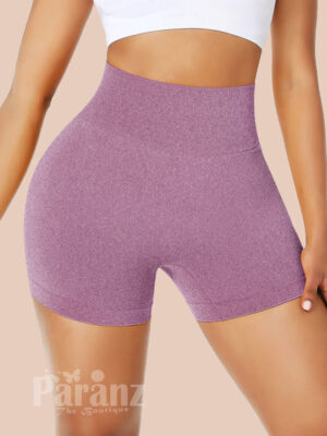 Ravishing Light Purple Athletic Shorts Solid Color High Rise Elegance