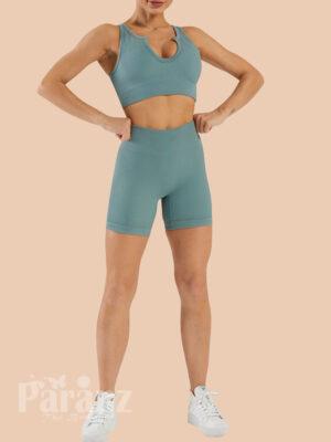Seamless Yogawear Suit Low Neckline Sleeveless High Elasticity