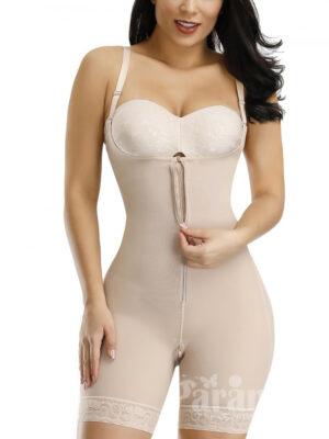 Skin Color Full Body Shaper Zipper Lace Trim Hooks Tummy Control