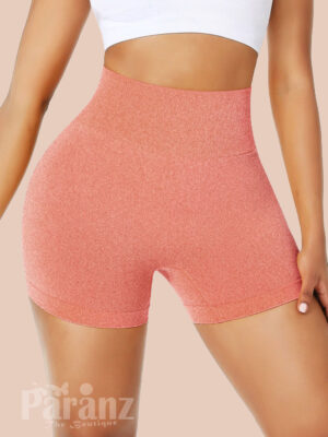 Splendor Orange Running Shorts High Rise Thigh Length Sensual Curves