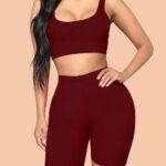 Splendor Wine Red Crop Sweat Suit Sleeves Solid Color Female