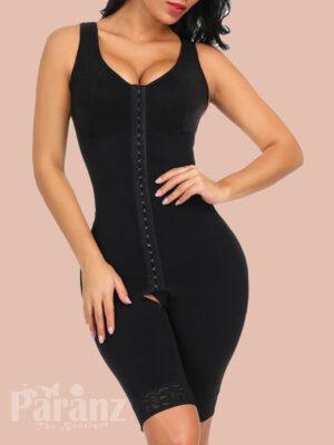 Superfit Black Big Size Floral Lace Bodysuit Wide Straps Hooks Figure Sculpting view