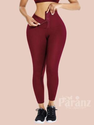 Wine Red High Waist Shaper Firm Control Leggings For Women