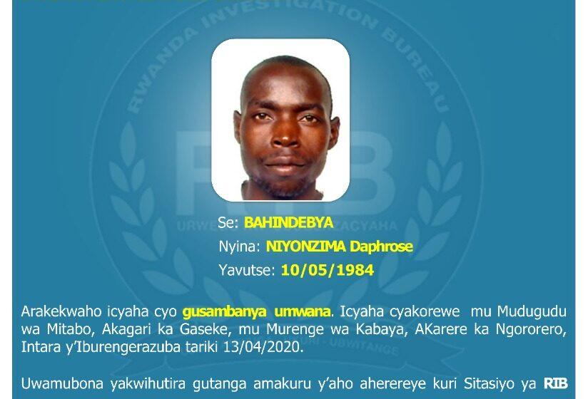 RIB iri gushakisha ukekwaho gusambanya umwana mu kwa 04/2020