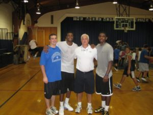 Joe Whalen and son with Kylie Irving and friends