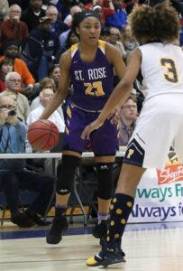 no.23, Makayla Andrews St. Rose girl's basketball v/s Franklin in Toms River, NJ on3/14/19. [DANIELLA HEMINGHAUS | THE COAST STAR]