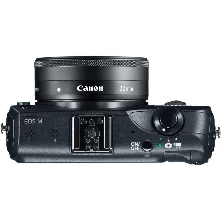A mirrorless Canon EOS-M vista de cima. Elas são muito mais compactas e leves que as DSLRs, por isso tem agradado a um vasto público.