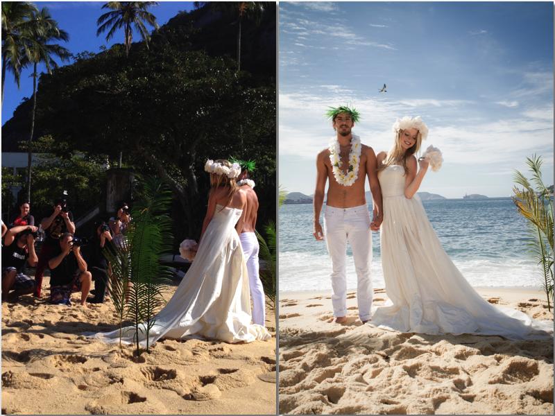 """Fotografia: Claus Rebelo Moda: Officeimshoot Beleza: Dennya Carvalho Modelo: 40 graus models Direção de moda: Vanilson Coimbra """" Um casamento na praia, bem no estilo havaiano. Produzimos o cenário all mesmo, com duas folhas de palmeiras fincadas na areia. O contra luz foi escolhido pelo fotógrafo que equilibrou com um flash em baixa potência para imprimir toda felicidade do nosso casal"""""""