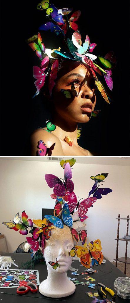 Modelo produz sozinha autorretratos impressionantes de baixo custo em seu quarto