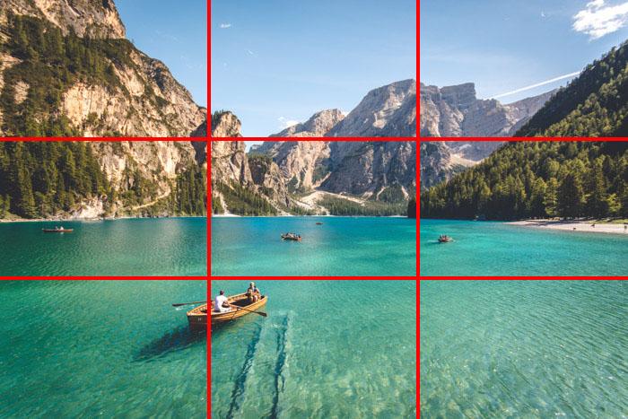 regras nos terços composição de fotos