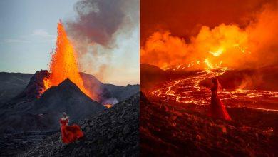 fotógrafa faz série de autorretratos em frente a vulcão em erupção