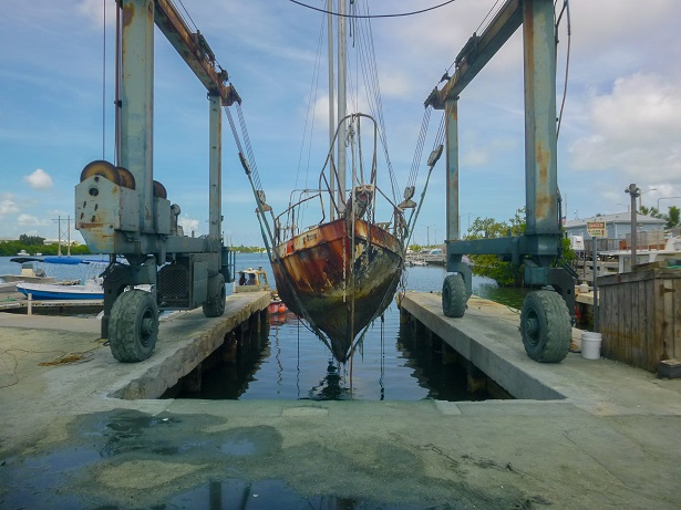 The 32-foot steel sailboat ran aground in Key West Harbor about a 1/4 mile north of Wisteria Island and was removed at a cost of $16,000. It was one of 16 derelict vessels removed by the Monroe County Office of Marine Resources using funding from an FWC grant. Photo: Monroe County Office of Marine Resources