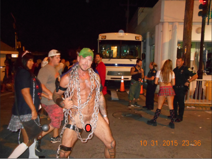 FANTASY FEST 2015 NUDE GUY WITH POLICE IN BGND