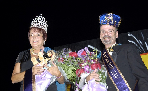 """'A Royal Retrospective: a Look Back at the Kings and Queens of Fantasy Fest,' 6-8 p.m., Thurs. Oct 20, at the Custom House Museum celebrates former event Kings and Queens during an all-candidate fundraiser for AIDS Help. Pictured here are 2006 Queen and King, Meta """"Fizz"""" Rettew and the late, beloved Gregg McGrady."""
