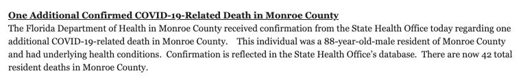 Covid-19 monroe county florida cases feb 8 death