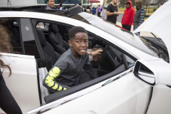 Students were able to sit inside a display Tesla vehicle.