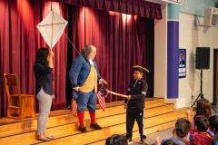 America's Inventor Ben Franklin held an interactive presentation on stage.
