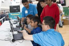 Students test Perspecta's flight simulators.