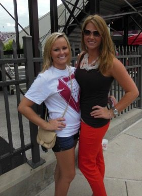 Kristina Kelly (1901 Group) and her friend pose before attending a Virginia Tech football game.