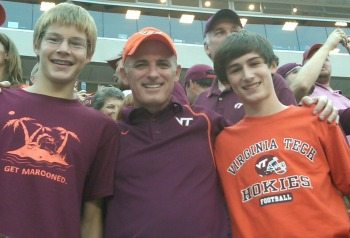 Mark Weber (NetApp) and his children show their spirit at a Virginia Tech football game.