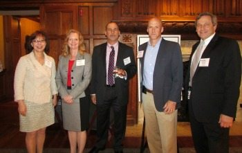 Trish Stover (Leidos), Kay Curling (Salient Federal Solutions), James Scampavia (AMERICAN SYSTEMS), Gary Shiffman (Giant Oak) and Mark Cohn (Unisys Federal Systems)
