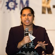 ProjectCSGIRLS founder and TJHSST graduate Pooja Chandrashekar spoke on the 2015 STEM Symposium panel