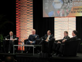 Rob Zitz, Leidos; Maj. Gen. Roger W. Teague, U.S. Air Force; Thoman Webber, U.S. Army Space and Missile Defense Command; Mark Choiniere, NGA; Dr. Gordon Roesler, DARPA