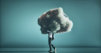 Humorous mobile cloud computing conceptual image.