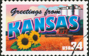 Postage Stamp saying Greetings from Kansas