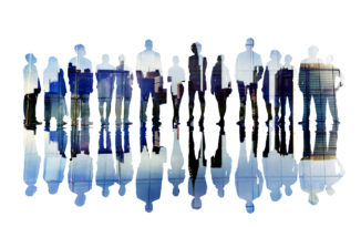 Silhouettes of Business People with Cityscape