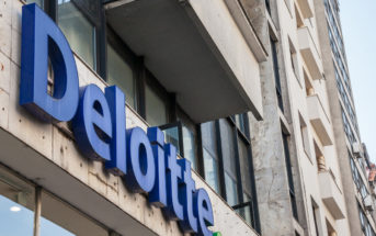 "Picture of Deloitte sign with their logo on a buisiness building in Belgrade, Serbia. Deloitte Touche Tohmatsu is a multinational professional services network, one of the ""Big Four"" accounting organizations and the largest professional services network in the world by revenue and number of staff and collaborators"