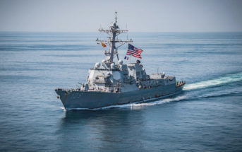 181108-N-UX013-1146 ARABIAN GULF (Nov. 8, 2018) The guided-missile destroyer USS Jason Dunham (DDG 109) flies the battle ensign and the flag of France during a three week integration of the French navy La Fayette-class frigate FS Courbet (F 712) with Task Force 55. Jason Dunham is deployed to the U.S. 5th Fleet area of operations in support of naval operations to ensure maritime stability and security in the Central Region, connecting the Mediterranean and the Pacific through the western Indian Ocean and three strategic choke points. (U.S. Navy photo by Mass Communication Specialist 3rd Class Jonathan Clay/Released)
