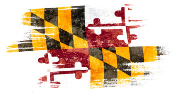 Art brush watercolor painting of Maryland flag blown in the wind isolated on white background eps 10 bector illustration. (Art brush watercolor painting of Maryland flag blown in the wind isolated on white background eps 10 bector illustration., ASCII