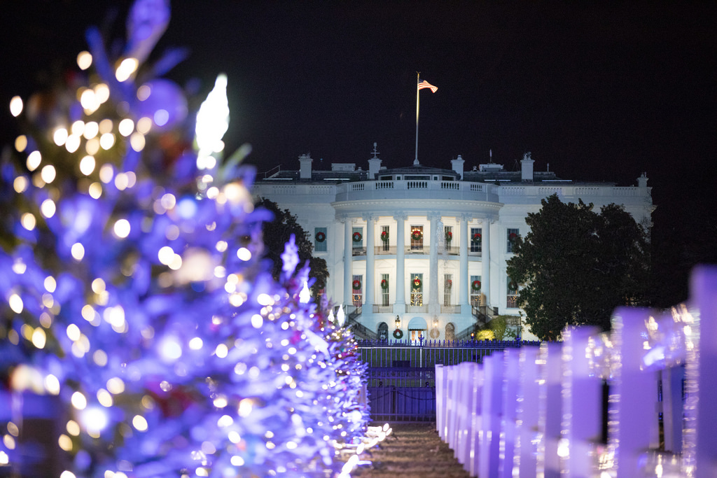 2018 National Christmas Tree Lighting The South Portico of the White House is framed in Christmas lights during the Lighting of the National Christmas Tree festivities Wednesday, Nov. 28, 2018, on the Ellipse in Washington, D.C. (Official White House Photo by Joyce N. Boghosian)