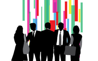 group of business people in vector silhouettes