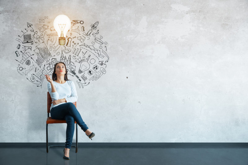 Thoughtful young woman sitting in concrete interior with creative business sketch and shadow. Leadership concept (Thoughtful young woman sitting in concrete interior with creative business sketch and shadow. Leadership concept, ASCII, 113 components,