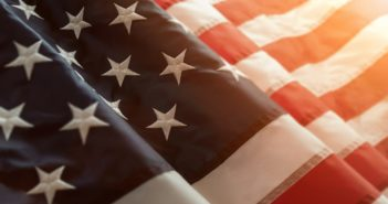 Close up of american flag with copy space