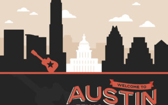 Welcome to Austin Texas background concept. EPS 10 file. Transparency effects used on highlight elements.