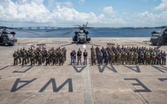 PANAMA CITY, Fla. - The AN/AQS-24C Mine Detecting Set test team, along with Helicopter Mine Countermeasures Squadron-15 (HM-15), posed for a team photo at the conclusion of a successful test event in Panama City, Florida June, 24, 2018. Personnel pictured by groups from left to right are: HM-15 Pilots and Aircrew, Naval Surface Warfare Center Panama City Division Test Team, and HM-15 Maintainers. U.S. Navy photo by Anthony Powers.