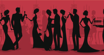 A group of elegant people at a black tie event. See below for a fully detailed version of this silhouette.