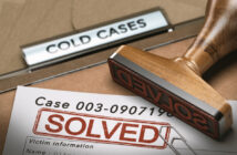 3D illustration of a cold case file with a rubber stamp and the word solved. concept of successful police investigations (3D illustration of a cold case file with a rubber stamp and the word solved. concept of successful police investigations, ASCII,