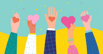 Concept of charity and donation. Give and share your love to people. Hands holding a heart symbol. Flat design, vector illustration. (Concept of charity and donation. Give and share your love to people. Hands holding a heart symbol. Flat design, vecto