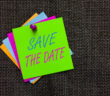 Word writing text Save The Date. Business concept for Systematized events Scheduled activity Recorded Filed Paper notes Important reminders Communicate ideas messages Jute background (Word writing text Save The Date. Business concept for Systematized