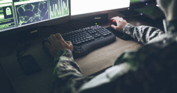 American soldier in headquarter control center