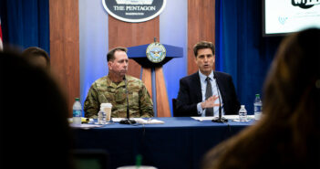"Dana Deasy, the Defense Department's chief information officer, and Air Force Lt. Gen. John N.T. ""Jack"" Shanahan, director of the Joint Artificial Intelligence Center, host a roundtable discussion on the enterprise cloud initiative with reporters at the Pentagon, Aug. 9, 2019."
