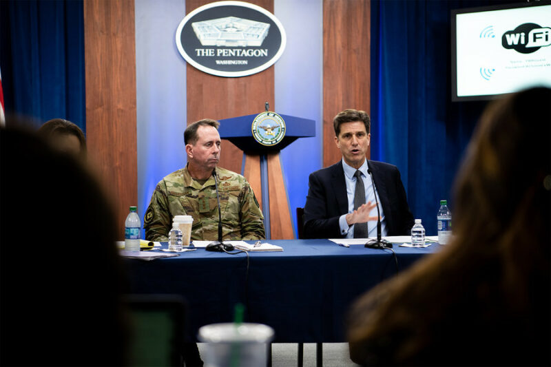 """Dana Deasy, the Defense Department's chief information officer, and Air Force Lt. Gen. John N.T. """"Jack"""" Shanahan, director of the Joint Artificial Intelligence Center, host a roundtable discussion on the enterprise cloud initiative with reporters at the Pentagon, Aug. 9, 2019."""