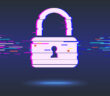 Cyber security concept: lock, glitch design. Illustrates cyber data security or information privacy idea. Blue abstract hi speed internet technology.Protection concept.vector illustration (Cyber security concept: lock, glitch design. Illustrates cyber