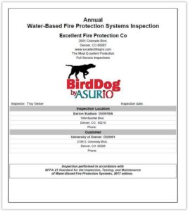 Best Life Safety Inspection Reports Sample | BirdDog Life Safety Inspection Software from Asurio, Inc.